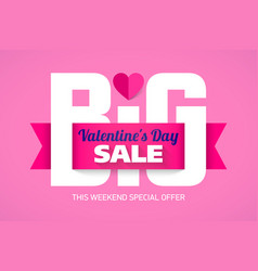 Valentines day big sale weekend special offer vector