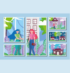 Woman energy ecology sustainable environment vector