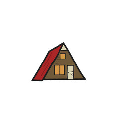 wooden house icon isolated on white background vector image