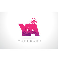Ya y a letter logo with pink purple color and vector