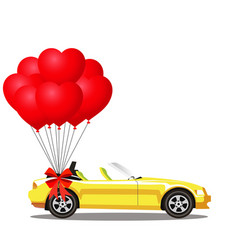yellow opened cartoon cabriolet car with bunch of vector image