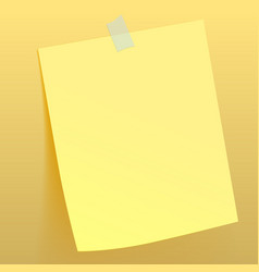 Yellow paper sheet attached scotch tape to the vector