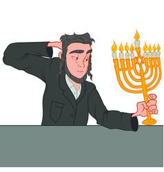 Young adult jewish man celebrating hanukkah vector