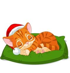 Christmas Kitten Sleeping vector image vector image