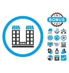 Company Building Flat Icon with Bonus vector image