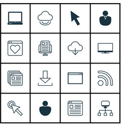 set of 16 web icons includes mouse program vector image