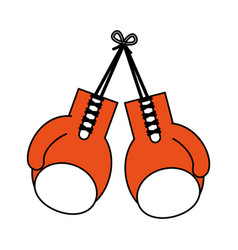 color silhouette image set orange boxing gloves vector image vector image