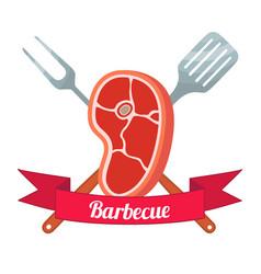 Fresh meat labelpork ham barbecue fork spatula vector