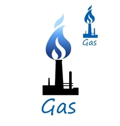 Gas symbol with pipe and blue flame vector image vector image