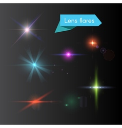 Glowing colorful flash elements vector image vector image