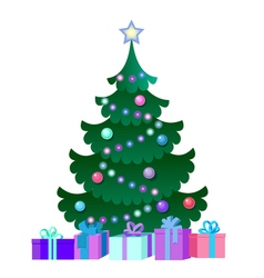 With christmas tree and gift boxes vector