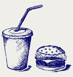 Big hamburger and soda vector image