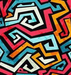 Bright graffiti seamless pattern with grunge vector