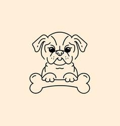 cartoon pug pug-dog with a bone bulldog vector image