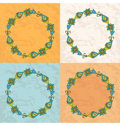 Circle of flowers on a background texture of paper vector image vector image