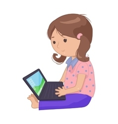 Computer laptop girl vector image
