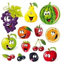 funny fruit cartoon vector image vector image