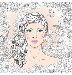 girl with flowers outline vector image vector image