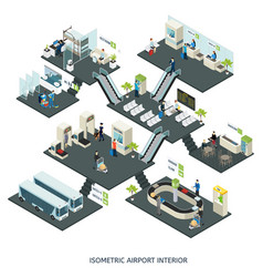 Isometric airport halls composition vector