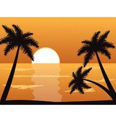 Seascape at sunset with palm trees vector image
