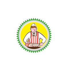 Butcher Chopping Ham Rosette Cartoon vector image vector image