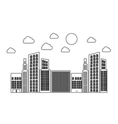 figure builds with small cloud and sun vector image vector image