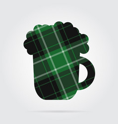 green black tartan isolated icon - beer with foam vector image