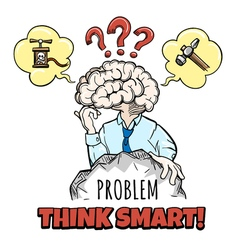 Human brain in thinking process vector image