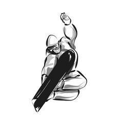 line sketch snowboarder vector image