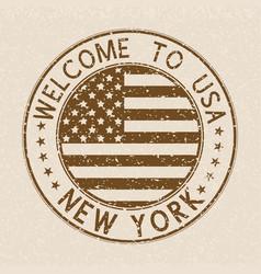 welcome to usa postmark new york brown stamp on vector image vector image