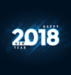 2018 happy new year blue background with glowing vector