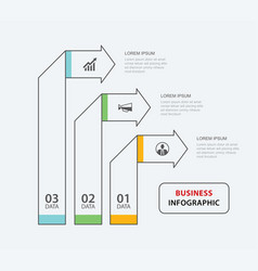 3 data infographics tab paper thin line index vector image
