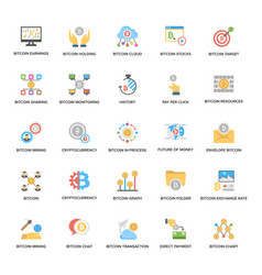 A pack of bitcoin and cryptocurrency flat icons vector