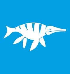 aquatic dinosaur icon white vector image