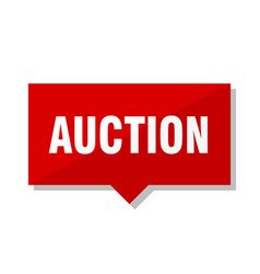 Auction red tag vector