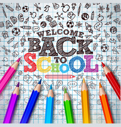 back to school design with colorful pencil vector image