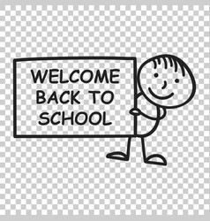 back to school placard in hands icon on isolated vector image