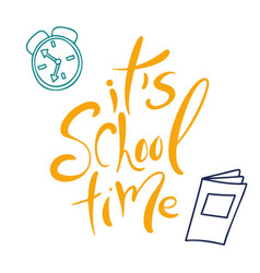 back to school poster isolated lettering on white vector image