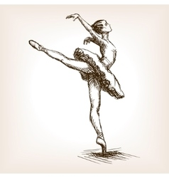 Ballet dancer girl sketch vector