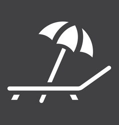 Beach umbrella with deckchair solid icon travel vector