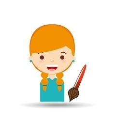 Beatiful girl blonde student paint brush vector