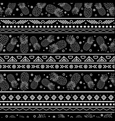 Black and white tribal pineapples stripes vector