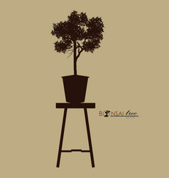 bonsai tree on the table vintage realistic style vector image