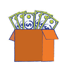Box open with bills dollar vector