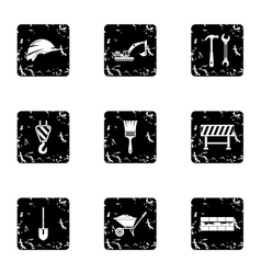 Building tools icons set grunge style vector image
