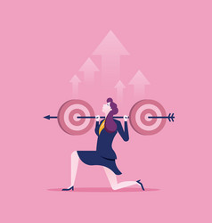businesswoman holding target to success business vector image
