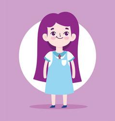 cartoon character little girl pupil school uniform vector image