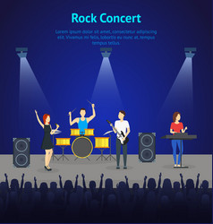 Cartoon music band on stage card poster vector