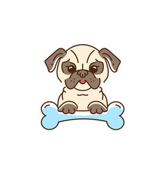 cartoon pug cute dog with a bone bulldog pug vector image
