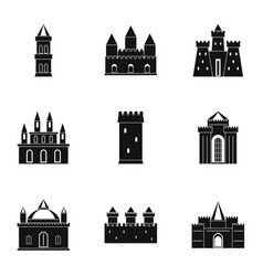 Castles and towers icon set simple style vector